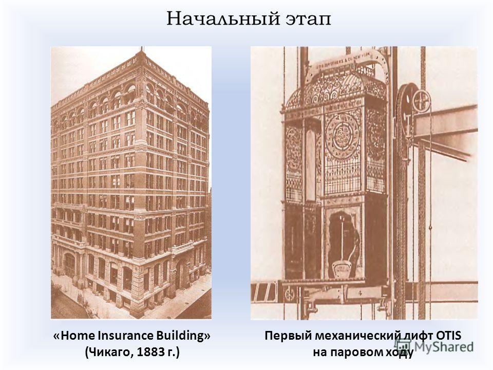 Начальный этап «Home Insurance Building» (Чикаго, 1883 г.) Первый механический лифт OTIS на паровом ходу