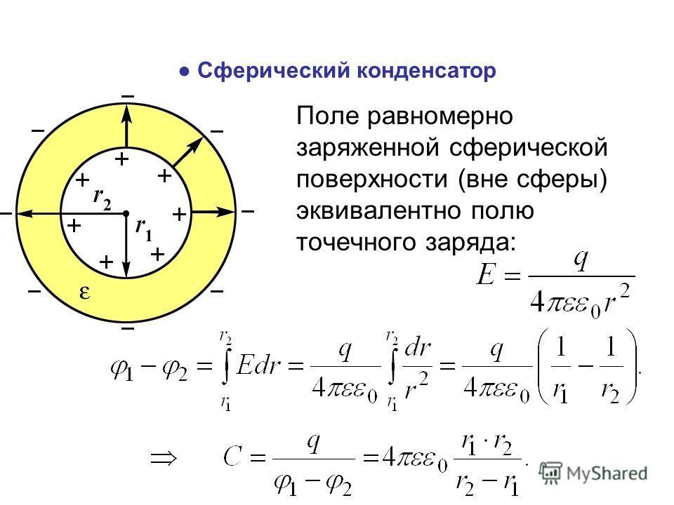 Сферический конденсатор Поле равномерно заряженной сферической поверхности (вне сферы) эквивалентно полю точечного заряда: