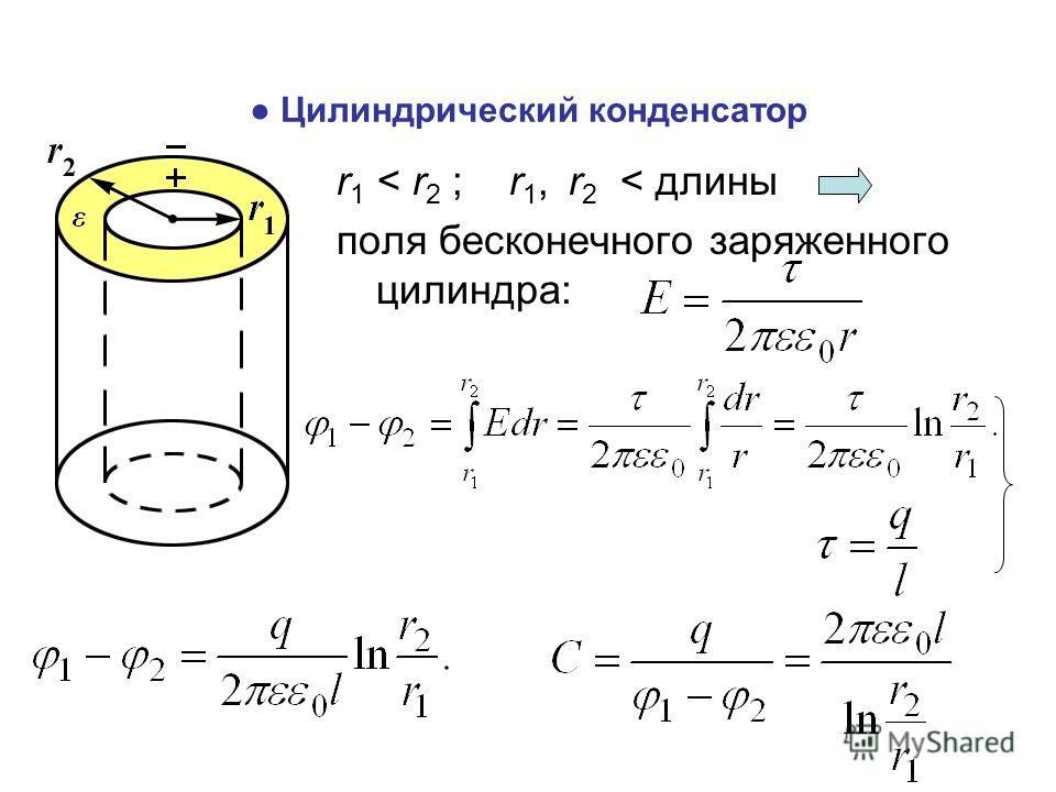 Цилиндрический конденсатор r 1 < r 2 ; r 1, r 2 < длины поля бесконечного заряженного цилиндра:
