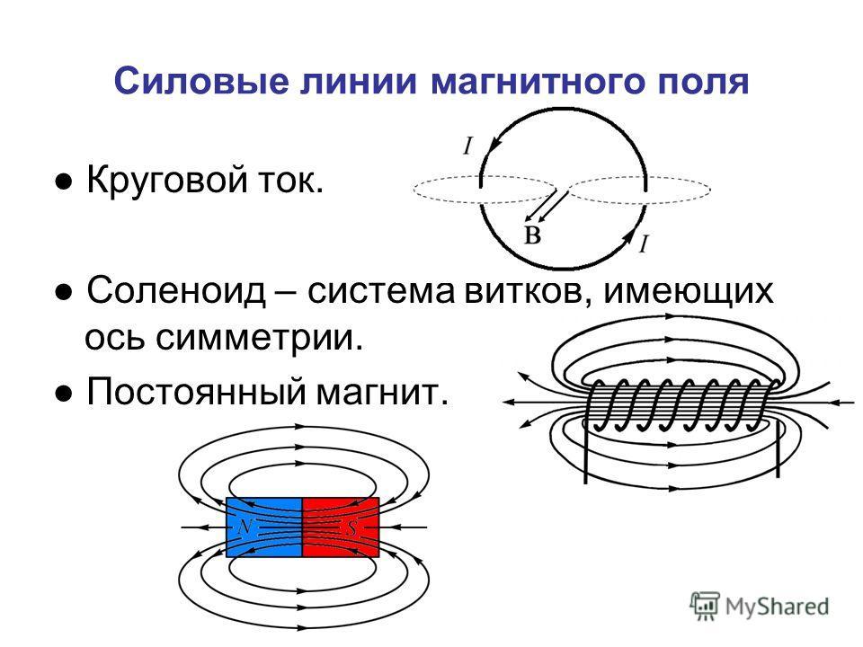 Силовые линии магнитного поля Круговой ток. Соленоид – система витков, имеющих ось симметрии. Постоянный магнит.