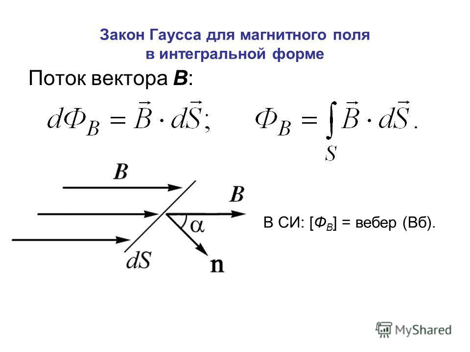 Закон Гаусса для магнитного поля в интегральной форме Поток вектора В: В СИ: [Ф В ] = вебер (Вб).