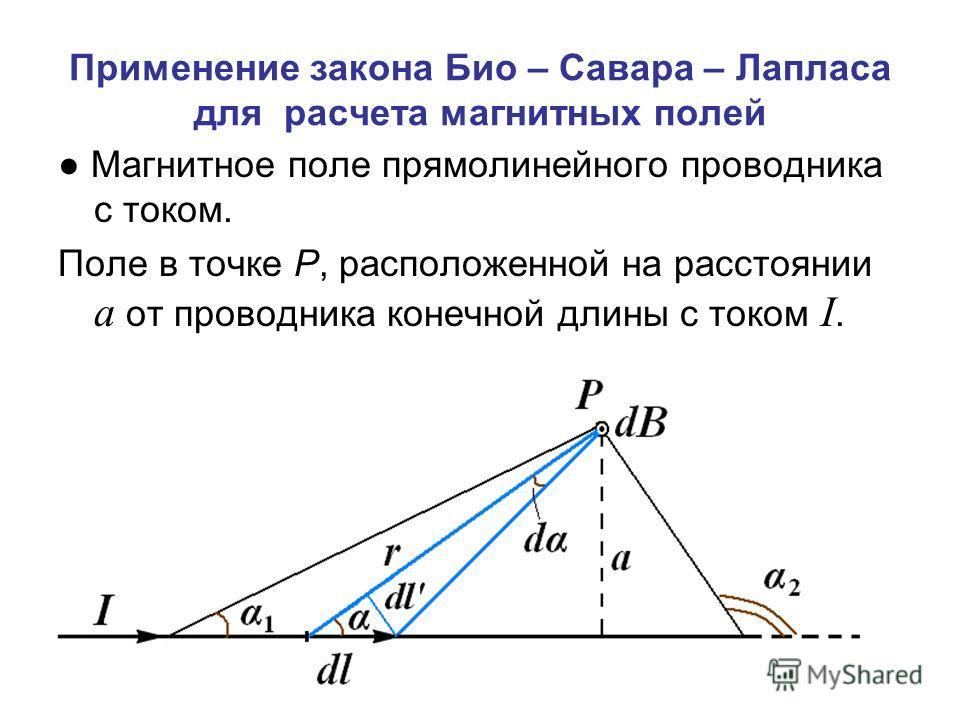 Применение закона Био – Савара – Лапласа для расчета магнитных полей Магнитное поле прямолинейного проводника с током. Поле в точке Р, расположенной на расстоянии а от проводника конечной длины с током I.