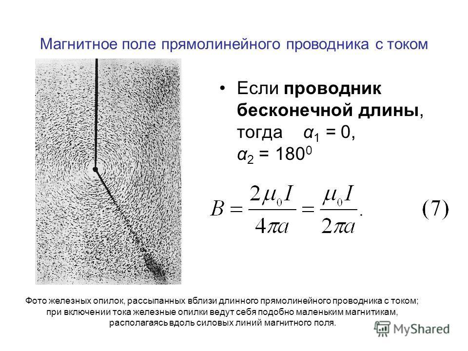 Магнитное поле прямолинейного проводника с током Если проводник бесконечной длины, тогда α 1 = 0, α 2 = 180 0 Фото железных опилок, рассыпанных вблизи длинного прямолинейного проводника с током; при включении тока железные опилки ведут себя подобно м