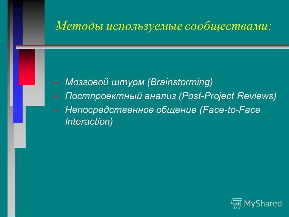 Методы используемые сообществами: Мозговой штурм (Brainstorming) Постпроектный анализ (Post-Project Reviews) Непосредственное общение (Face-to-Face Interaction)