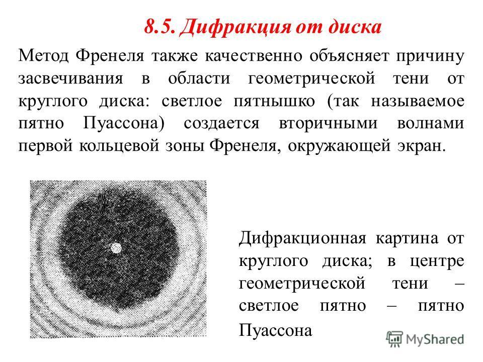 Метод Френеля также качественно объясняет причину засвечивания в области геометрической тени от круглого диска: светлое пятнышко (так называемое пятно Пуассона) создается вторичными волнами первой кольцевой зоны Френеля, окружающей экран. 8.5. Дифрак