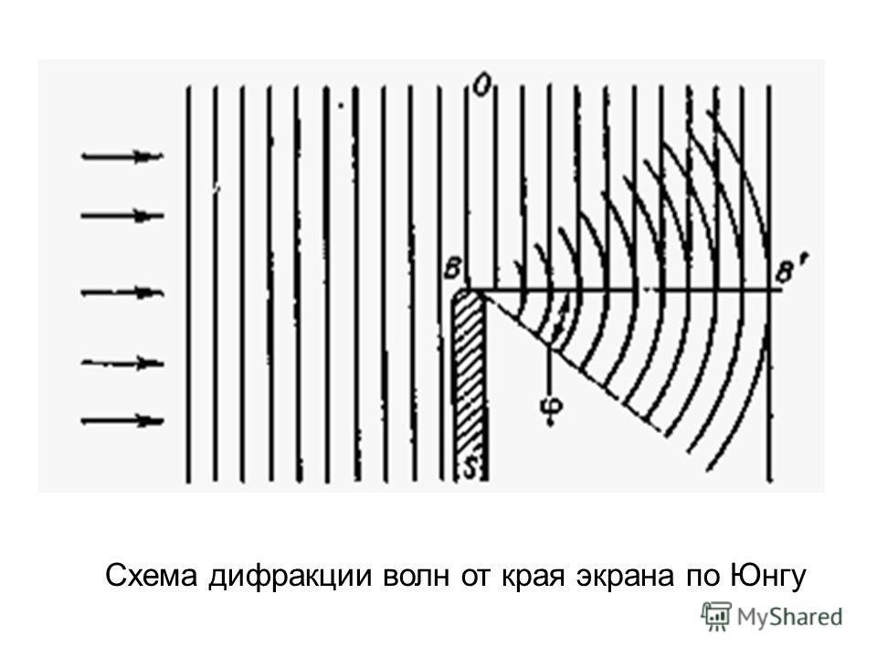 Схема дифракции волн от края экрана по Юнгу