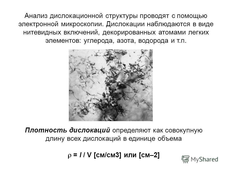 Анализ дислокационной структуры проводят с помощью электронной микроскопии. Дислокации наблюдаются в виде нитевидных включений, декорированных атомами легких элементов: углерода, азота, водорода и т.п. Плотность дислокаций определяют как совокупную д