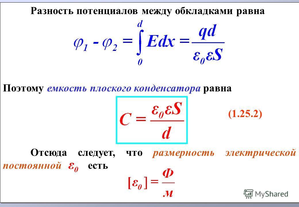 Разность потенциалов между обкладками равна Поэтому емкость плоского конденсатора равна (1.25.2) Отсюда следует, что размерность электрической постоянной есть Разность потенциалов между обкладками равна Поэтому емкость плоского конденсатора равна (1.