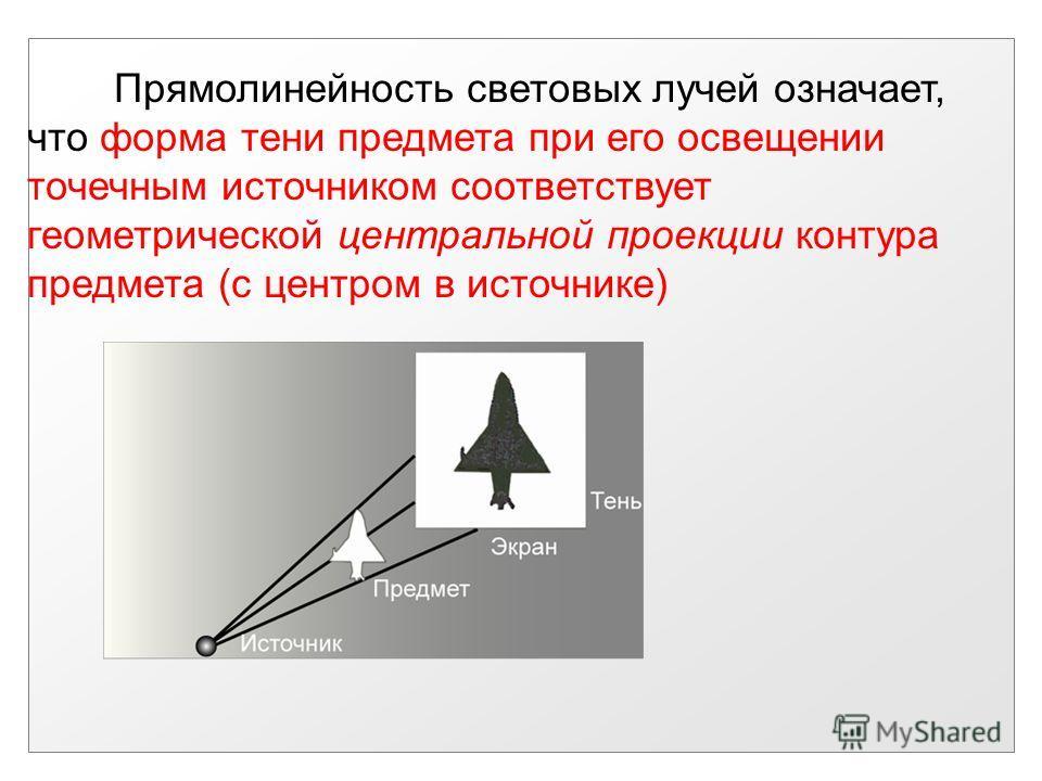 Прямолинейность световых лучей означает, что форма тени предмета при его освещении точечным источником соответствует геометрической центральной проекции контура предмета (с центром в источнике)