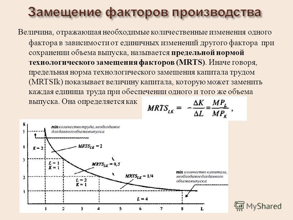 Величина, отражающая необходимые количественные изменения одного фактора в зависимости от единичных изменений другого фактора при сохранении объема выпуска, называется предельной нормой технологического замещения факторов (MRTS). Иначе говоря, предел