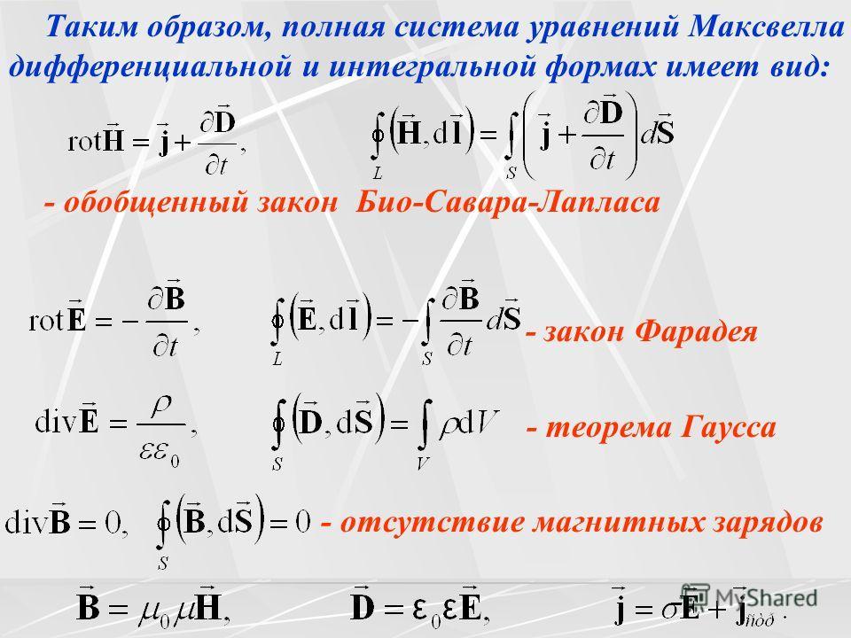 Таким образом, полная система уравнений Максвелла в дифференциальной и интегральной формах имеет вид: - обобщенный закон Био-Савара-Лапласа - закон Фарадея - теорема Гаусса - отсутствие магнитных зарядов