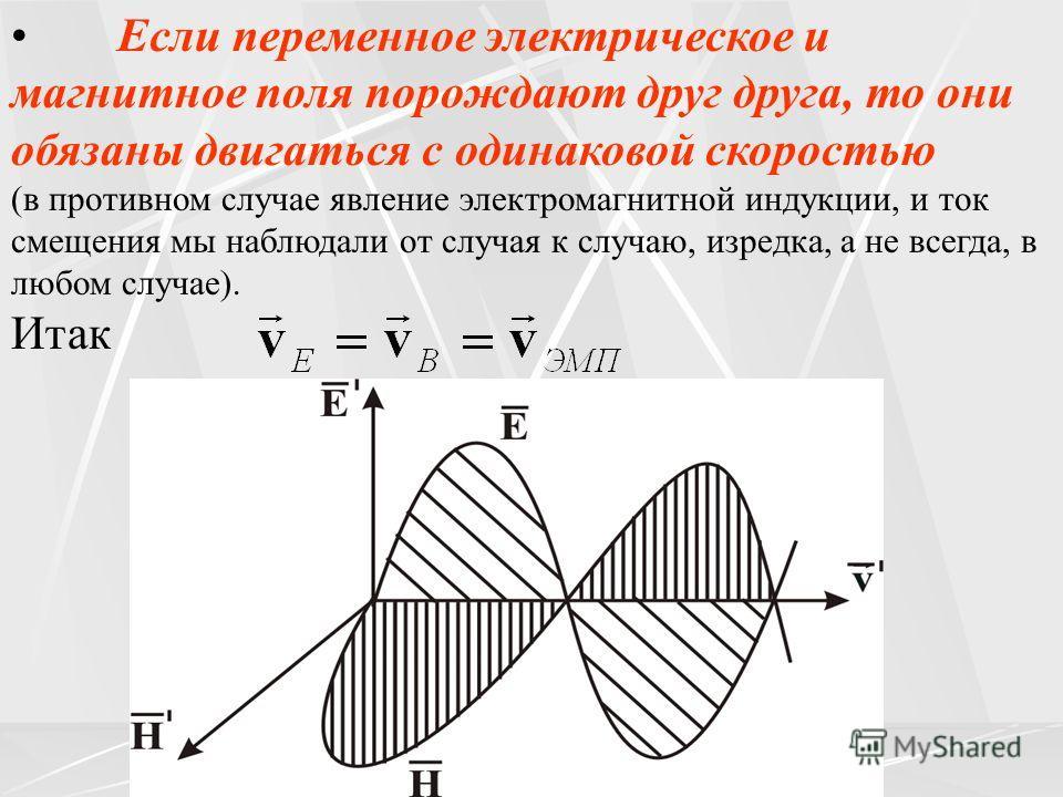 Если переменное электрическое и магнитное поля порождают друг друга, то они обязаны двигаться с одинаковой скоростью (в противном случае явление электромагнитной индукции, и ток смещения мы наблюдали от случая к случаю, изредка, а не всегда, в любом