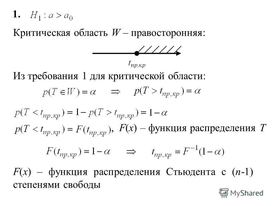 § Критерий Стьюдента (t-критерий) Генеральная совокупность распределена нормально. Проверить гипотезу: a 0 – некоторое число Критерий: Т имеет распределение Стьюдента с (n-1) степенями свободы Критическая область строится в зависимости от вида конкур