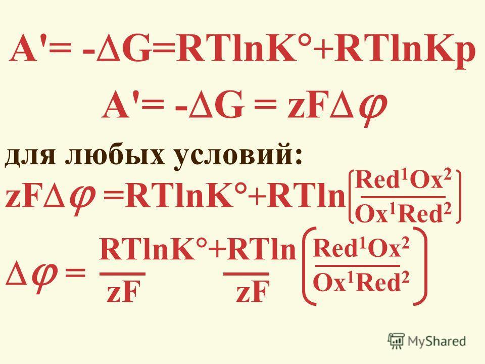 А'= - G=RTlnK + RTlnKp А'= - G = zF для любых условий: zF =RTlnK + RTln = Red 1 Ox 2 Ox 1 Red 2 Red 1 Ox 2 Ox 1 Red 2 RTlnK +RTln zF zF
