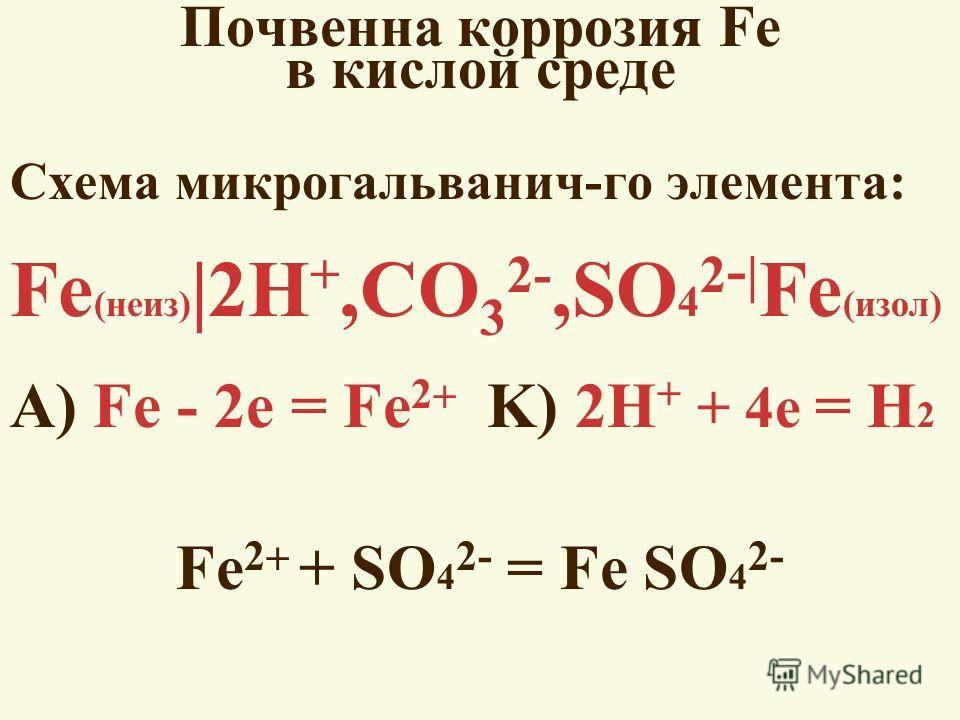 Почвенна коррозия Fe в кислой среде Схема микрогальванич-го элемента: Fe (неиз) |2H +,СO 3 2-,SO 4 2 - | Fe (изол) А) Fe - 2e = Fe 2 K) 2H + + 4e = H 2 Fe 2 + SO 4 2- = Fe SO 4 2-