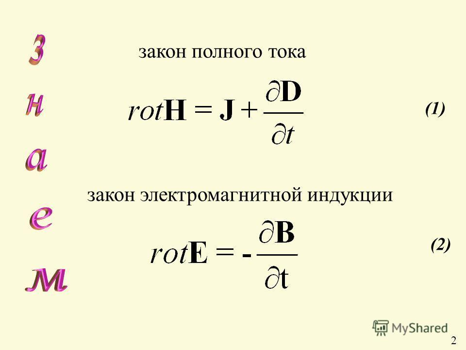 (2)(2) (1) закон электромагнитной индукции закон полного тока 2