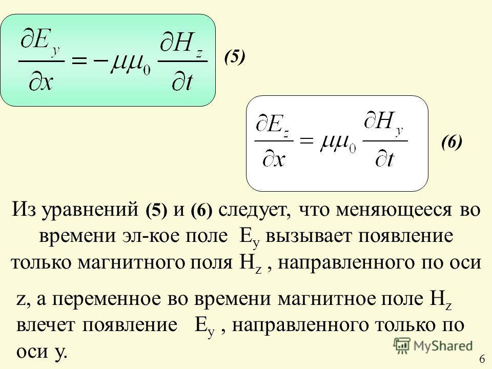 Из уравнений (5) и (6) следует, что меняющееся во времени эл-кое поле Е y вызывает появление только магнитного поля H z, направленного по оси (6) (5) z, а переменное во времени магнитное поле H z влечет появление E у, направленного только по оси y. 6