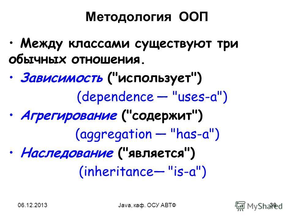 06.12.2013Java, каф. ОСУ АВТФ38 Методология ООП Между классами существуют три обычных отношения. Зависимость (использует) (dependence uses-a) Агрегирование (содержит) (aggregation has-a) Наследование (является) (inheritance is-a)
