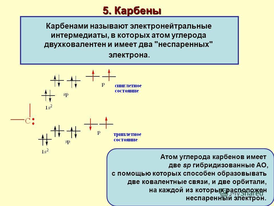 5. Карбены Карбенами называют электронейтральные интермедиаты, в которых атом углерода двухковалентен и имеет два