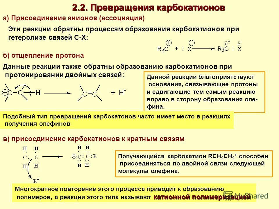 2.2. Превращения карбокатионов а) Присоединение анионов (ассоциация) Эти реакции обратны процессам образования карбокатионов при гетеролизе связей С-Х: б) отщепление протона Данные реакции также обратны образованию карбокатионов при протонировании дв