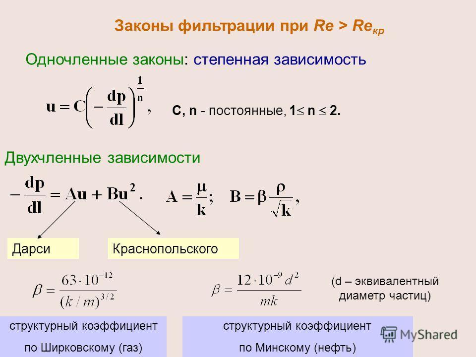 Законы фильтрации при Re > Re кр Одночленные законы: степенная зависимость C, n - постоянные, 1 n 2. Двухчленные зависимости ДарсиКраснопольского структурный коэффициент по Минскому (нефть) структурный коэффициент по Ширковскому (газ) (d – эквивалент