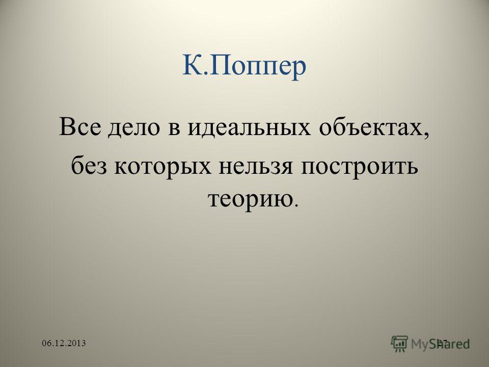 К.Поппер Все дело в идеальных объектах, без которых нельзя построить теорию. 06.12.201327