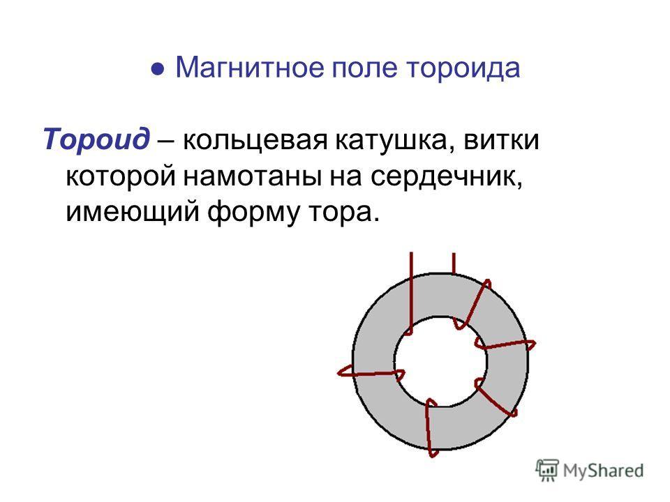 Магнитное поле тороида Тороид – кольцевая катушка, витки которой намотаны на сердечник, имеющий форму тора.
