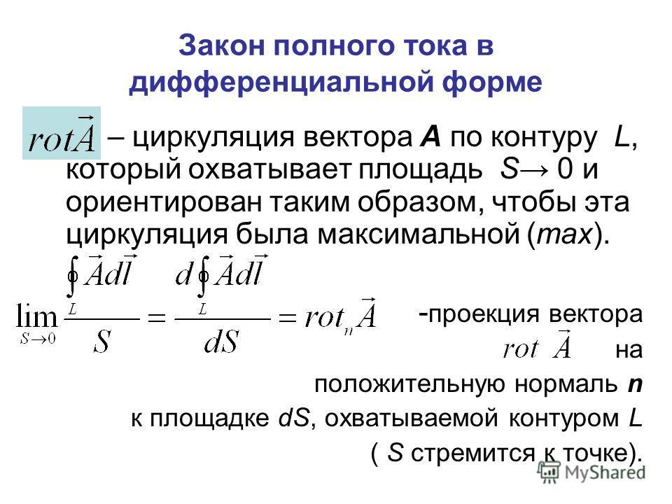 Закон полного тока в дифференциальной форме – циркуляция вектора А по контуру L, который охватывает площадь S 0 и ориентирован таким образом, чтобы эта циркуляция была максимальной (max). - проекция вектора на положительную нормаль n к площадке dS, о