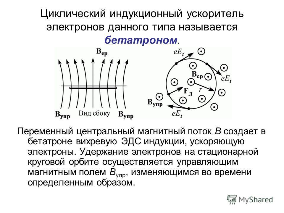 Циклический индукционный ускоритель электронов данного типа называется бетатроном. Переменный центральный магнитный поток В создает в бетатроне вихревую ЭДС индукции, ускоряющую электроны. Удержание электронов на стационарной круговой орбите осуществ