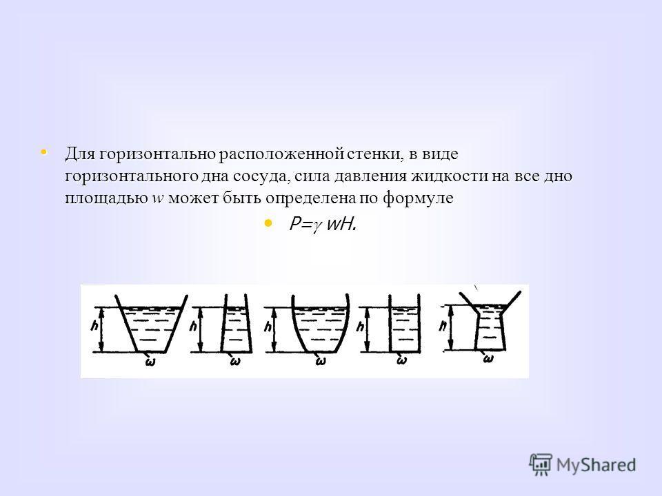 Для горизонтально расположенной стенки, в виде горизонтального дна сосуда, сила давления жидкости на все дно площадью w может быть определена по формуле Для горизонтально расположенной стенки, в виде горизонтального дна сосуда, сила давления жидкости