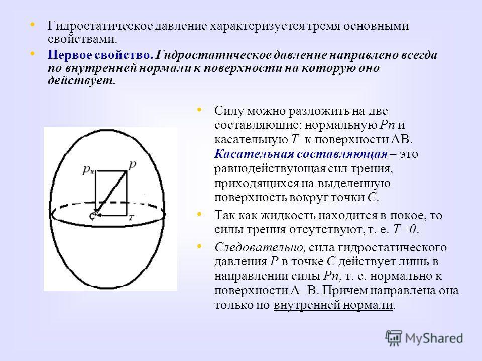 Гидростатическое давление характеризуется тремя основными свойствами. Первое свойство. Гидростатическое давление направлено всегда по внутренней нормали к поверхности на которую оно действует. Силу можно разложить на две составляющие: нормальную Рn и
