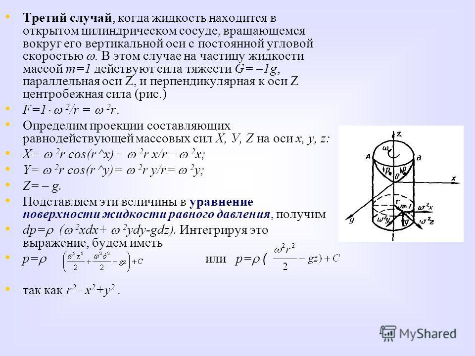 Третий случай, когда жидкость находится в открытом цилиндрическом сосуде, вращающемся вокруг его вертикальной оси с постоянной угловой скоростью. В этом случае на частицу жидкости массой m=1 действуют сила тяжести G= –1g, параллельная оси Z, и перпен