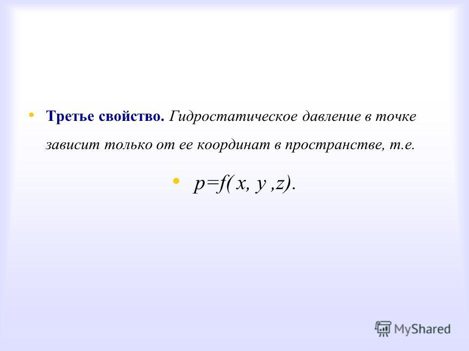 Третье свойство. Гидростатическое давление в точке зависит только от ее координат в пространстве, т.е. р=f( х, у,z).