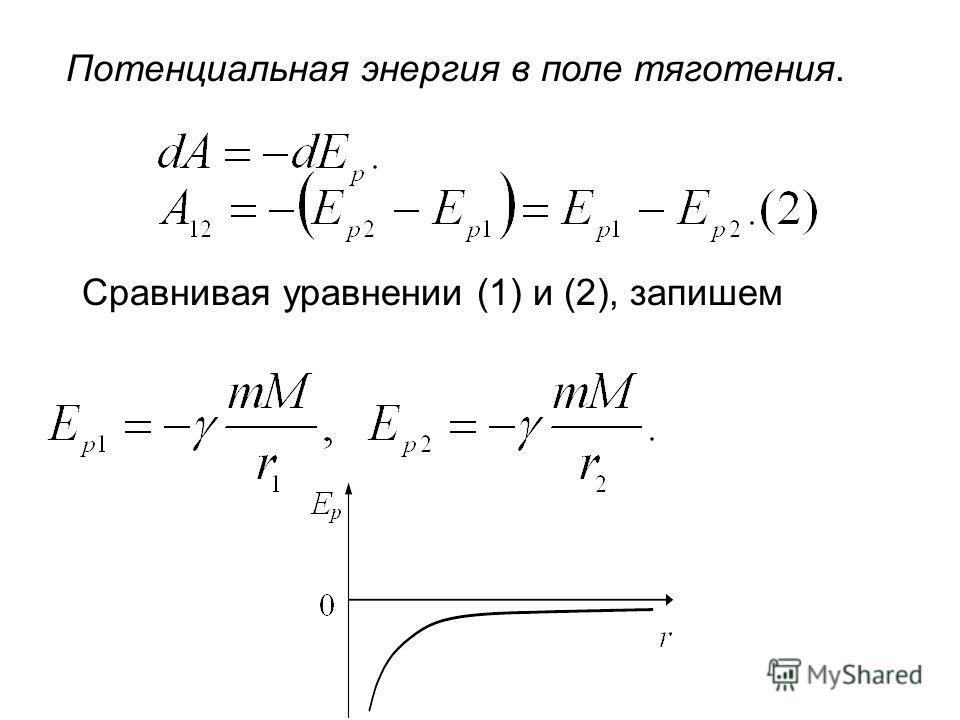 Потенциальная энергия в поле тяготения. Сравнивая уравнении (1) и (2), запишем