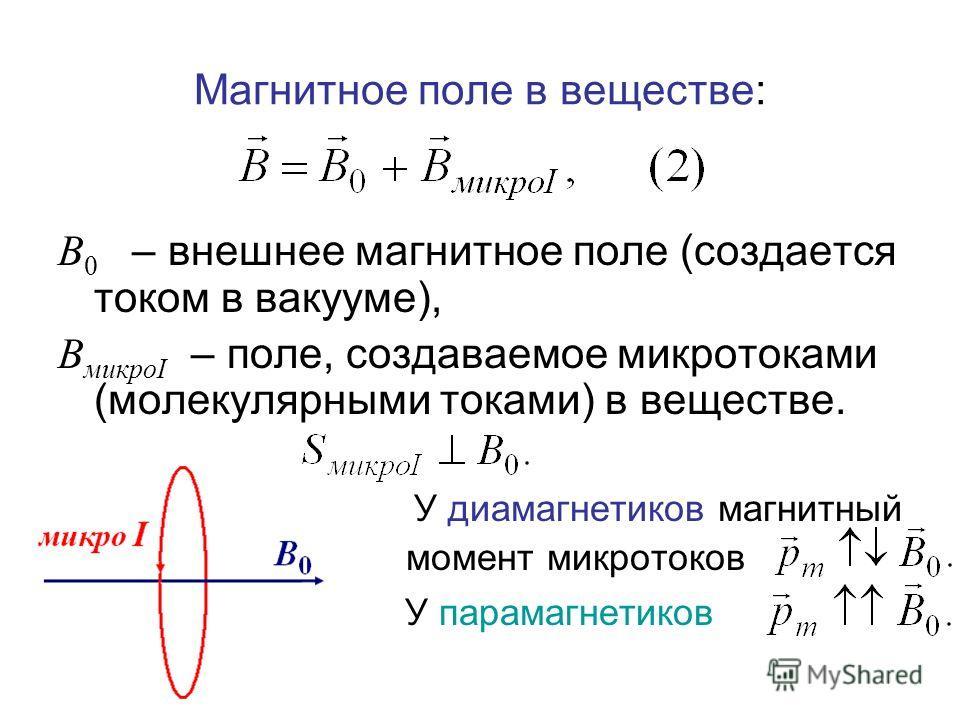 Магнитное поле в веществе: В 0 – внешнее магнитное поле (создается током в вакууме), В микроI – поле, создаваемое микротоками (молекулярными токами) в веществе. У диамагнетиков магнитный момент микротоков У парамагнетиков