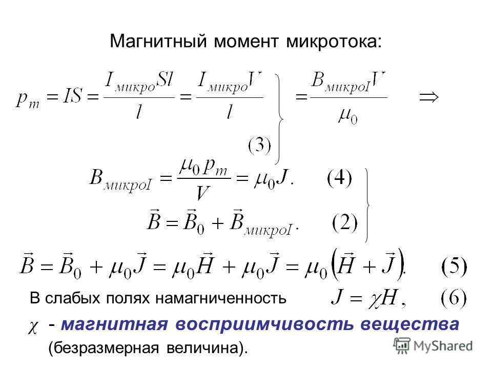Магнитный момент микротока: В слабых полях намагниченность χ - магнитная восприимчивость вещества (безразмерная величина).