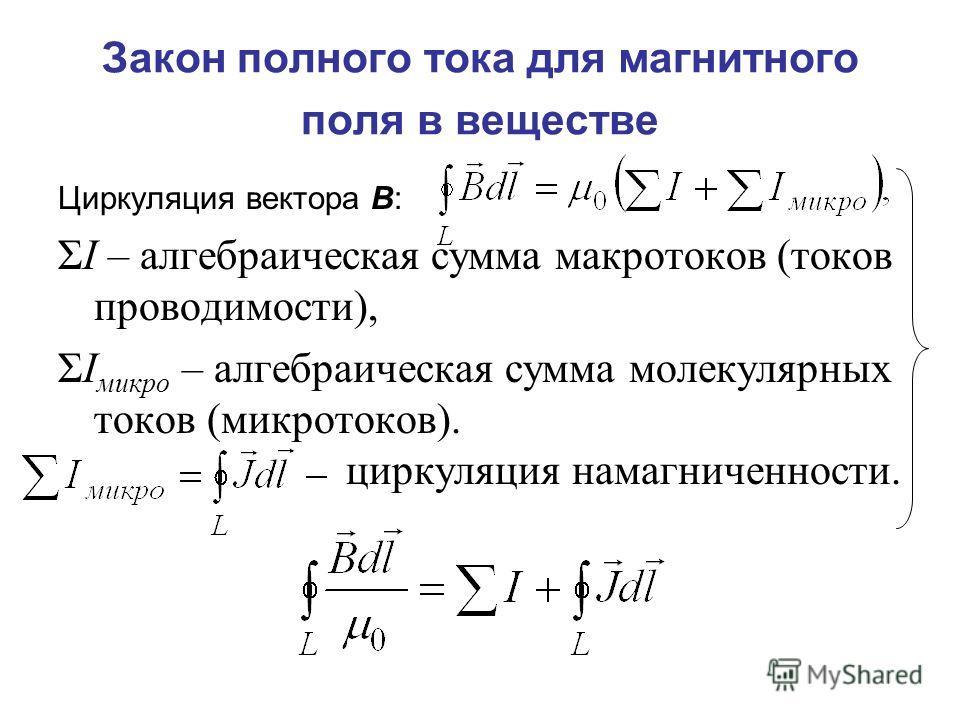 Закон полного тока для магнитного поля в веществе Циркуляция вектора В: ΣI – алгебраическая сумма макротоков (токов проводимости), ΣI микро – алгебраическая сумма молекулярных токов (микротоков). циркуляция намагниченности.