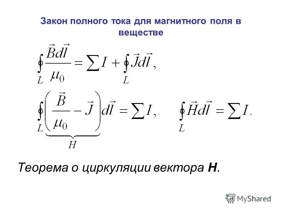 Закон полного тока для магнитного поля в веществе Теорема о циркуляции вектора Н.