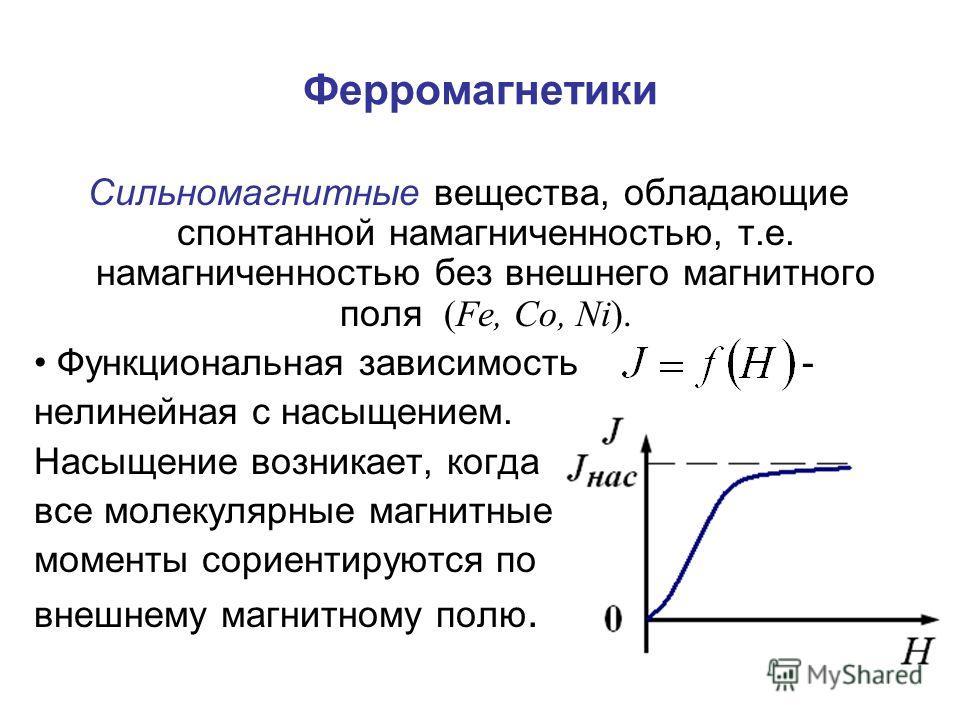 Ферромагнетики Сильномагнитные вещества, обладающие спонтанной намагниченностью, т.е. намагниченностью без внешнего магнитного поля (Fe, Co, Ni). Функциональная зависимость - нелинейная с насыщением. Насыщение возникает, когда все молекулярные магнит