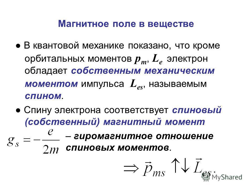 Магнитное поле в веществе В квантовой механике показано, что кроме орбитальных моментов p m, L e электрон обладает собственным механическим моментом импульса L es, называемым спином. Спину электрона соответствует спиновый (собственный) магнитный моме