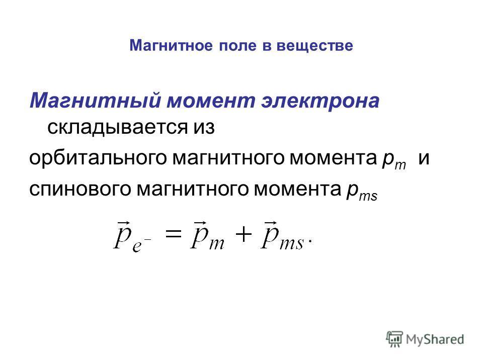Магнитное поле в веществе Магнитный момент электрона складывается из орбитального магнитного момента p m и спинового магнитного момента p ms