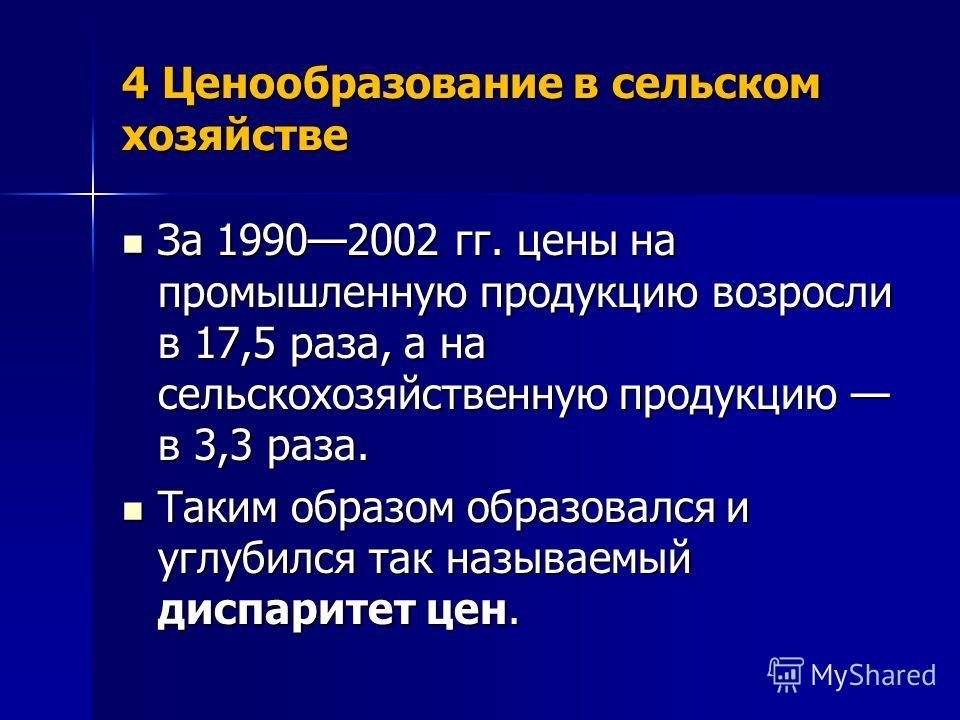 4 Ценообразование в сельском хозяйстве За 19902002 гг. цены на промышленную продукцию возросли в 17,5 раза, а на сельскохозяйственную продукцию в 3,3 раза. За 19902002 гг. цены на промышленную продукцию возросли в 17,5 раза, а на сельскохозяйственную