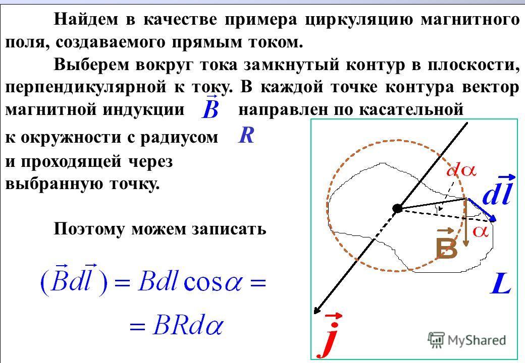 Найдем в качестве примера циркуляцию магнитного поля, создаваемого прямым током. Выберем вокруг тока замкнутый контур в плоскости, перпендикулярной к току. В каждой точке контура вектор магнитной индукции направлен по касательной к окружности c радиу