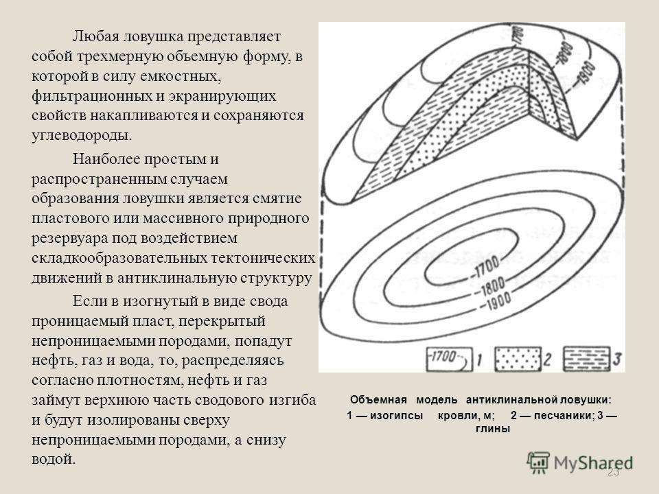 Любая ловушка представляет собой трехмерную объемную форму, в которой в силу емкостных, фильтрационных и экранирующих свойств накапливаются и сохраняются углеводороды. Наиболее простым и распространенным случаем образования ловушки является смятие пл