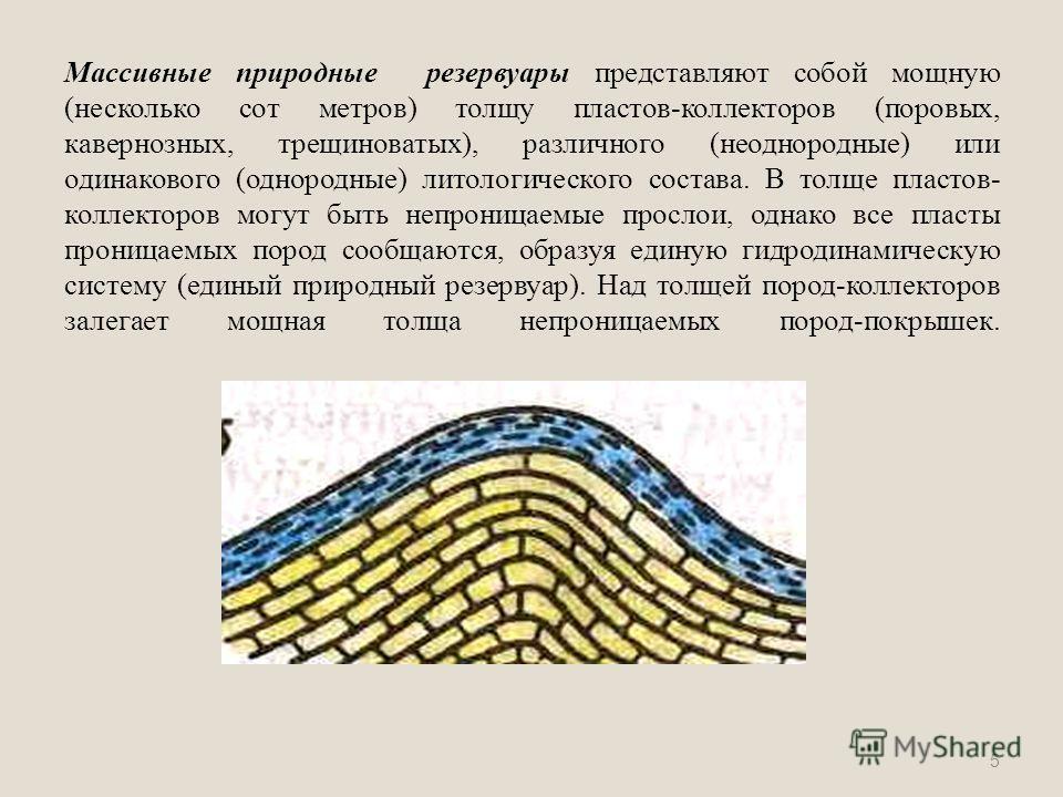 Массивные природные резервуары представляют собой мощную (несколько сот метров) толщу пластов-коллекторов (поровых, кавернозных, трещиноватых), различного (неоднородные) или одинакового (однородные) литологического состава. В толще пластов- коллектор