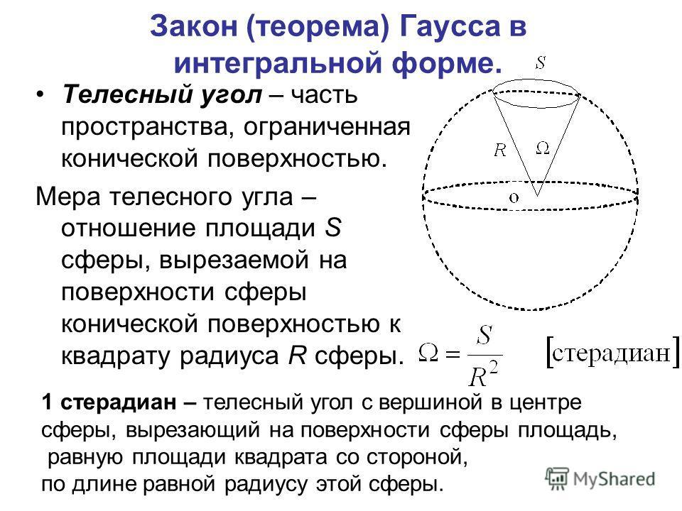 Закон (теорема) Гаусса в интегральной форме. Телесный угол – часть пространства, ограниченная конической поверхностью. Мера телесного угла – отношение площади S сферы, вырезаемой на поверхности сферы конической поверхностью к квадрату радиуса R сферы
