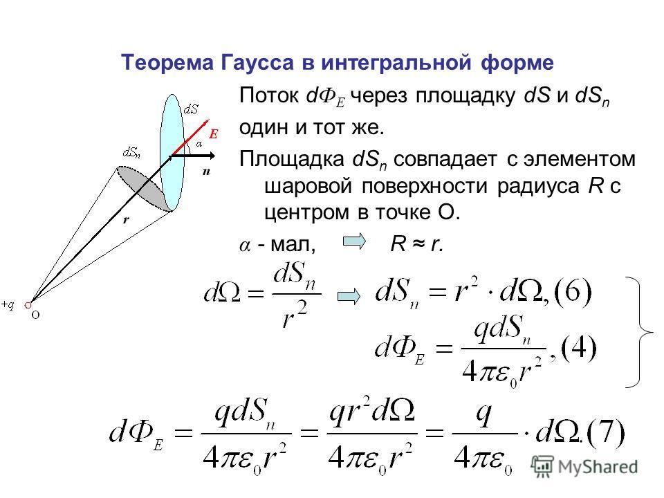Теорема Гаусса в интегральной форме Поток d Ф Е через площадку dS и dS n один и тот же. Площадка dS n совпадает с элементом шаровой поверхности радиуса R с центром в точке О. α - мал, R r.