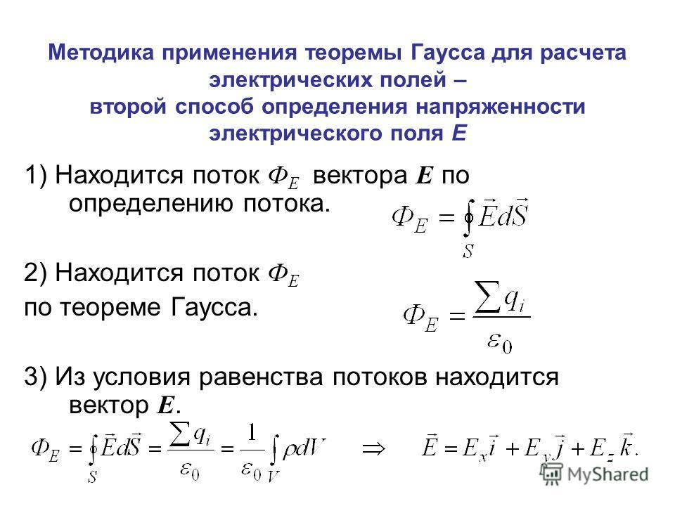 Методика применения теоремы Гаусса для расчета электрических полей – второй способ определения напряженности электрического поля Е 1) Находится поток Ф Е вектора Е по определению потока. 2) Находится поток Ф Е по теореме Гаусса. 3) Из условия равенст