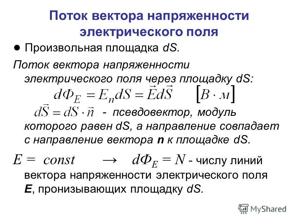Поток вектора напряженности электрического поля Произвольная площадка dS. Поток вектора напряженности электрического поля через площадку dS: - псевдовектор, модуль которого равен dS, а направление совпадает с направление вектора n к площадке dS. Е =