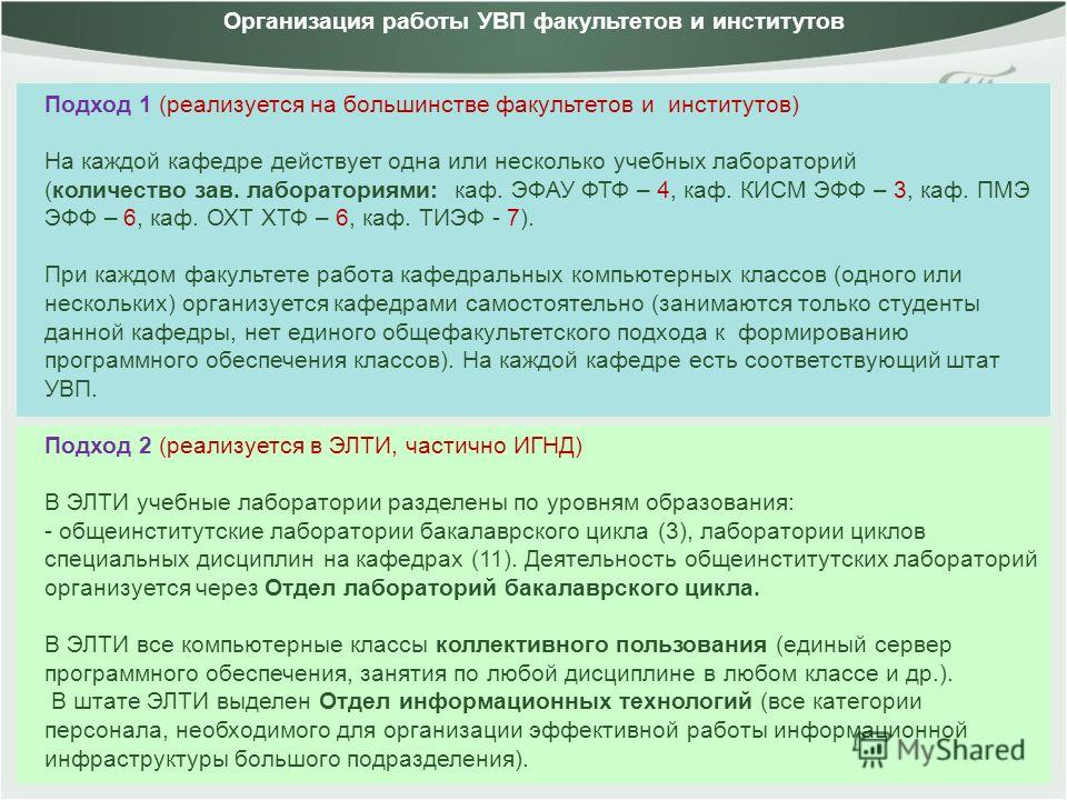 Подход 1 (реализуется на большинстве факультетов и институтов) На каждой кафедре действует одна или несколько учебных лабораторий (количество зав. лабораториями: каф. ЭФАУ ФТФ – 4, каф. КИСМ ЭФФ – 3, каф. ПМЭ ЭФФ – 6, каф. ОХТ ХТФ – 6, каф. ТИЭФ - 7)